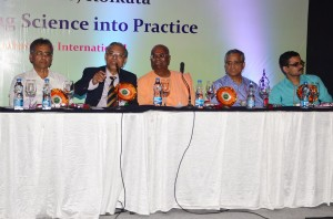 The Organising Committee of National Congress on Clinical Diabetes (NCCD)  - Dr. Jotideb Mukhopadhyay, Prof. Samar Banerjee, Swami Sebabratanada Maharaj of Ramkrishna Mission Seba Pratisthan, Dr. Sudarshan Chakraborty and Dr. Saumik Datta on the dias, answering questions and clearing doubts of the attendees.